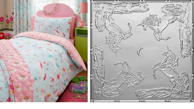 DIY Unicorn Tin Tile Headboard and Duvet Set