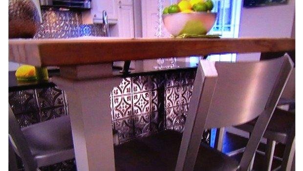 Tin Backsplash & Kitchen Island on Property Brothers