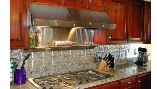 Kitchen Backsplash Ideas, Decorative Tin Tiles, Metal Backsplash