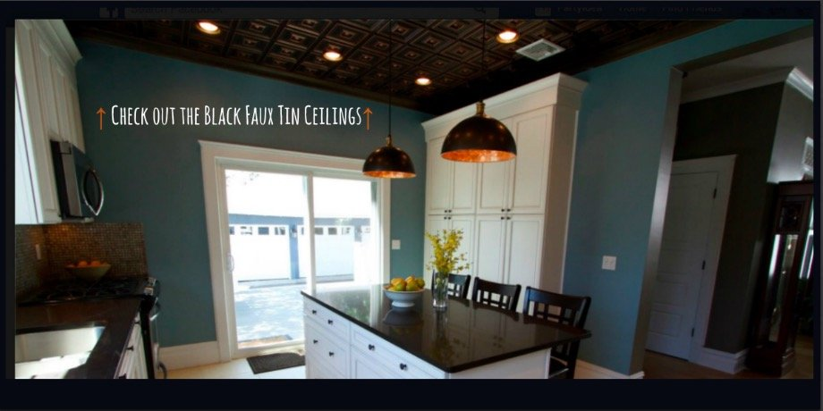 Black Faux Tin Ceilings in Home Remodel