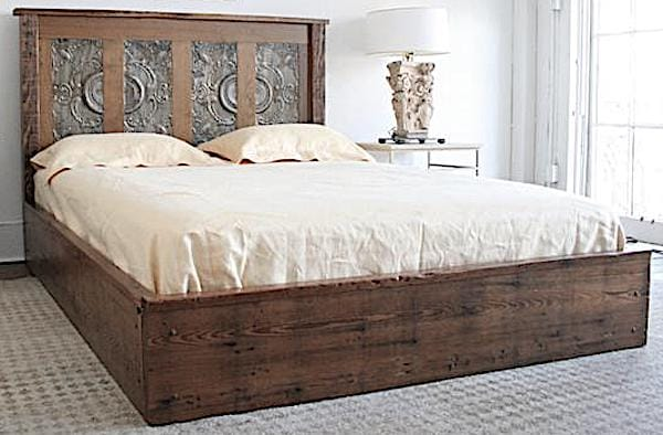 Queen Platform Bed Made from Reclaimed Wood from New Orleans Homes and Victorian Tin Ceiling Tiles