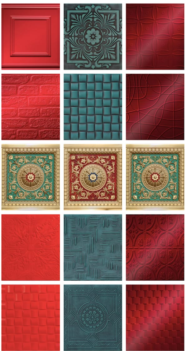 Red and Green Ceiling Tiles