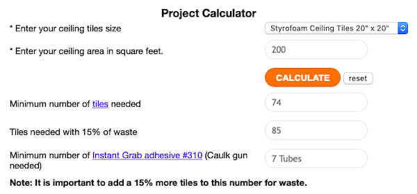 Styrofoam Tile Project Calculator for 200 Square Foot Bedroom