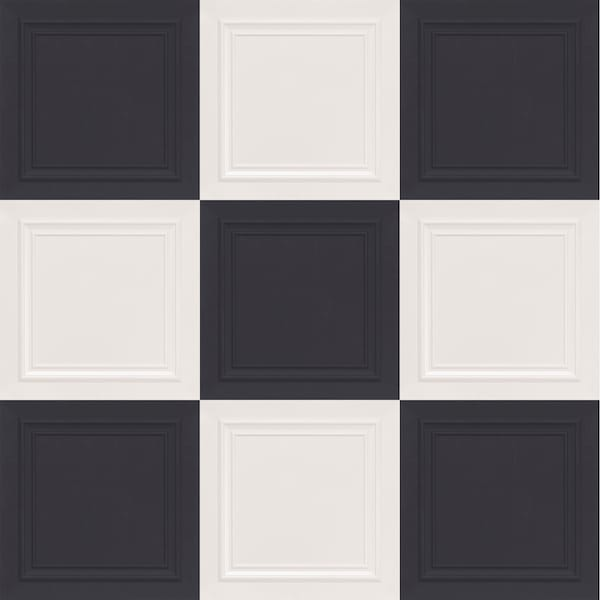 Black and White Checkered Faux Tin Ceiling Tiles 503