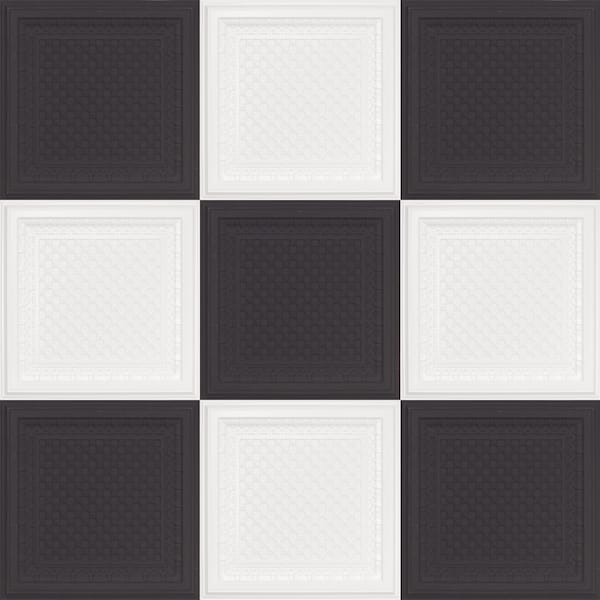 Black and White Checkered Faux Tin Tiles 501