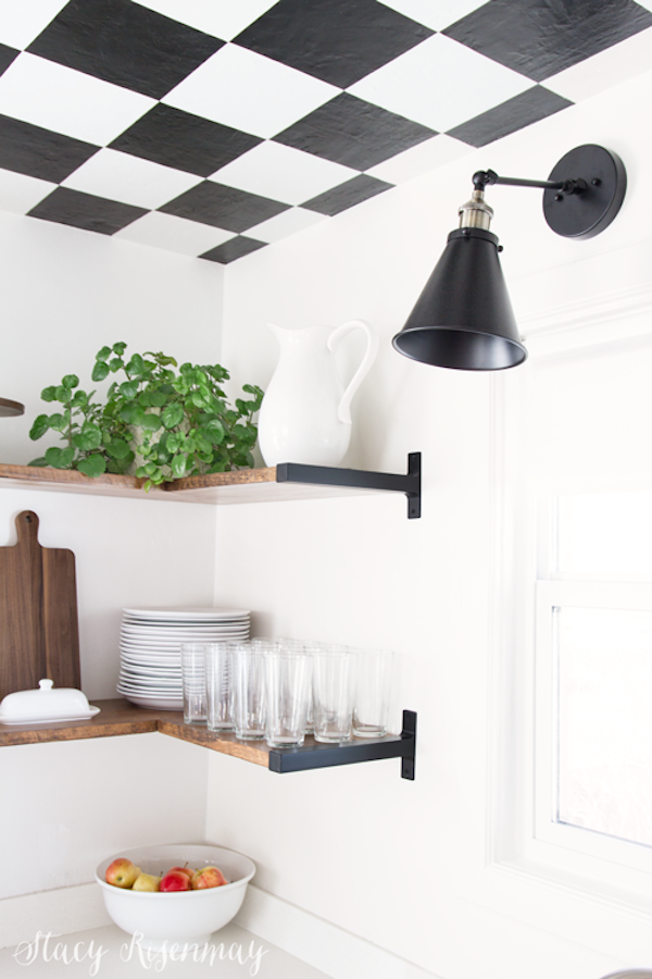 Black and White Checkered Kitchen Ceiling Tiles