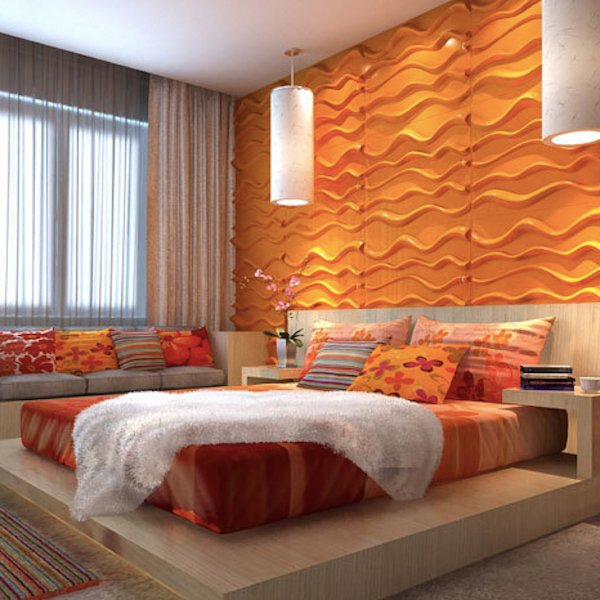3D Wall Panels - Bamboo Pulp 79 Orange Bedroom Wall