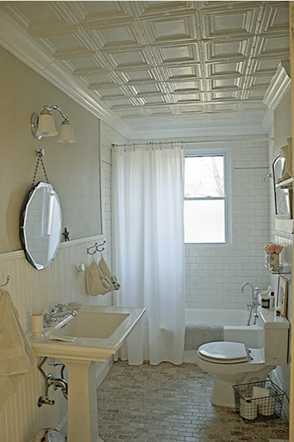 Decorative Square Ceiling Tiles in Classic Bathroom