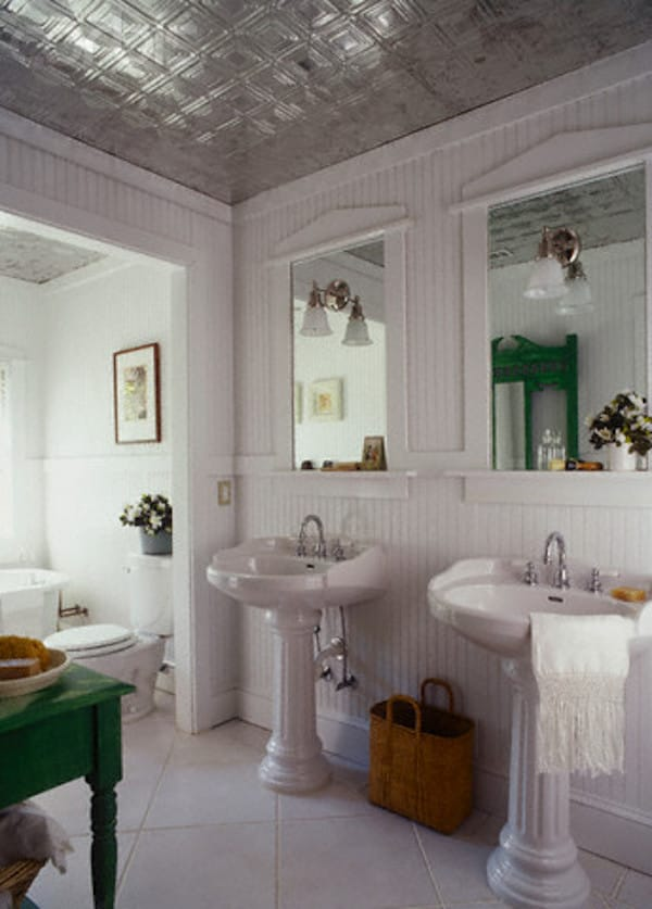 Square decorative tin ceiling tiles in bathroom