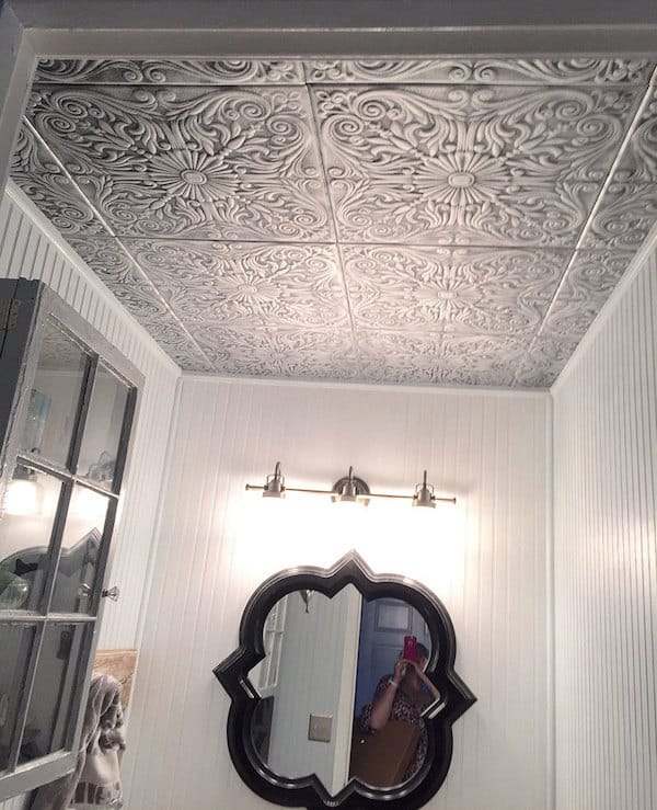 Spanish Silver Styrofoam Ceiling Tile in Antique Silver