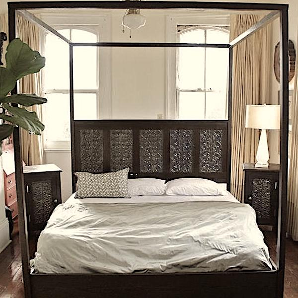 Canopy Bed Made from Reclaimed Wood and Victorian Tin Ceiling Tiles